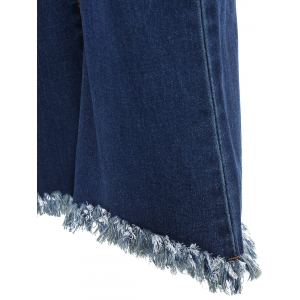 High Waisted Fringed Bell-Bottom Jeans -