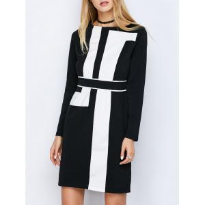 Long Sleeve Mini Color Block Shift Dress - Black - S