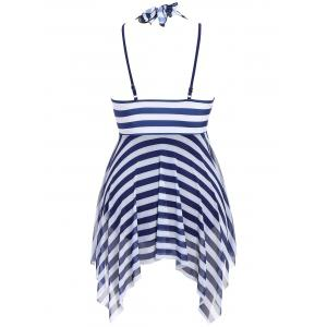 Plus Size Stripe One Piece Skirted Swimsuit - PURPLISH BLUE 2XL