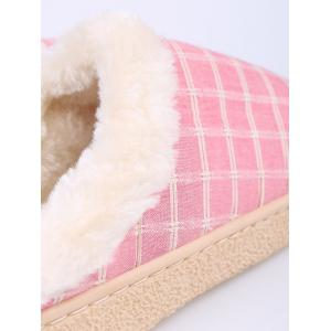 Faux Fur Trim Checked Grid Plaid Indoor Slippers - PINK SIZE(38-39)