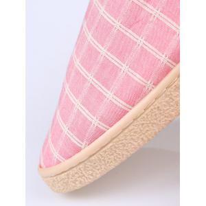 Faux Fur Trim Checked Grid Plaid Indoor Slippers -