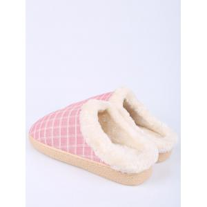 Faux Fur Trim Checked Grid Plaid Indoor Slippers - PINK SIZE(40-41)