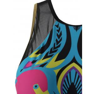 See-Through Printed One-Piece Swimwear - BLUE XL