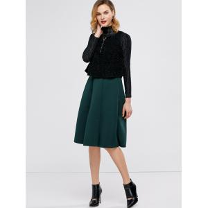 Midi High Waist A Line Skirt - GREEN ONE SIZE