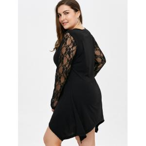 Lace Panel Asymmetrical T-Shirt Dress -