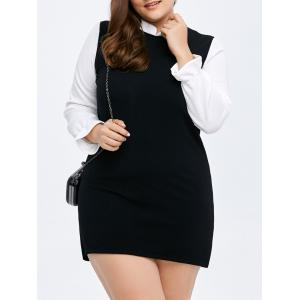 Colorblock Mini Bodycon Dress - Black - 2xl