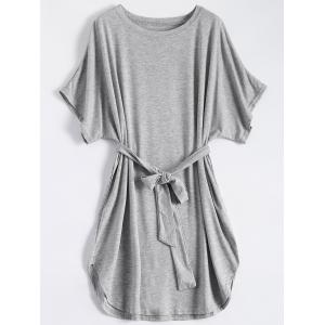 Casual Batwing Sleeve Belted Mini Dress - Gray - S