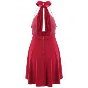 Low Back Keyhole Mini Cocktail Skater Dress -
