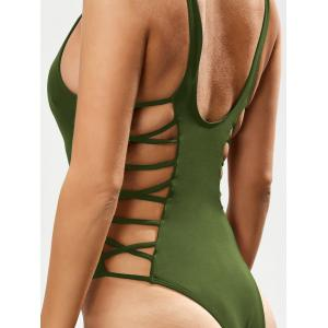 Lacing Up One Piece Swimsuit - GREEN XL