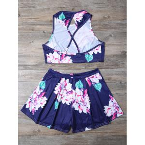 Floral Print Crop Top and High-Waisted Shorts Twinset -
