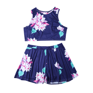 Floral Print Crop Top and High-Waisted Shorts Twinset - BLUE S
