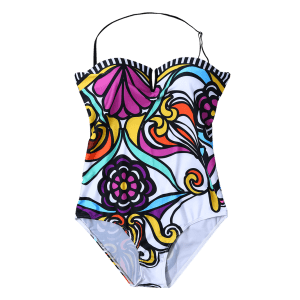 Strapless Flower Print One-Piece Swimwear - WHITE S