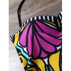 Strapless Flower Print One-Piece Swimwear -