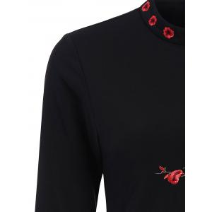 Blossom Floral Embroidered Fitted Dress - BLACK S