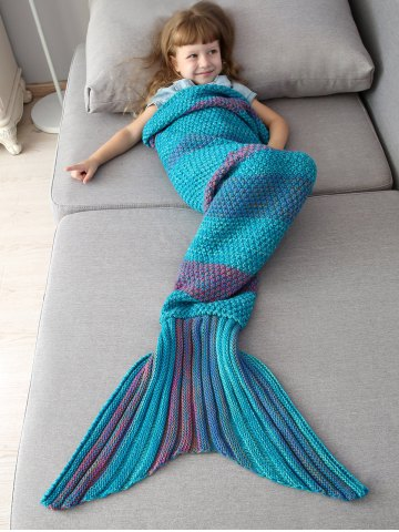 Winter Thicken Lengthen Color Block Sleeping Bag Wrap Kids Mermaid Blanket - Blue And Orange - L