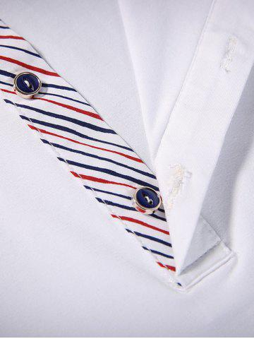 New Long Sleeve Buttoned Pinstriped T-Shirt - 3XL WHITE Mobile