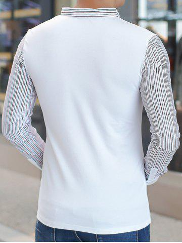 Sale Long Sleeve Buttoned Pinstriped T-Shirt - 3XL WHITE Mobile
