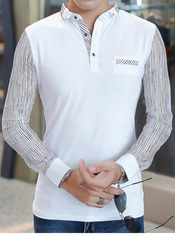 Cheap Long Sleeve Buttoned Pinstriped T-Shirt - 3XL WHITE Mobile