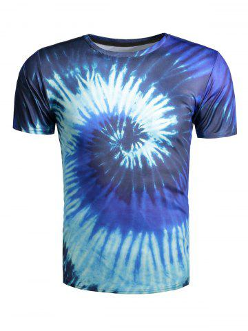 Sale Color Block Vortex Print Short Sleeve T-Shirt