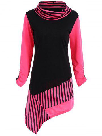 Cowl Neck Stripe Color Block Asymmetric Tee - Black And Rose Red - L