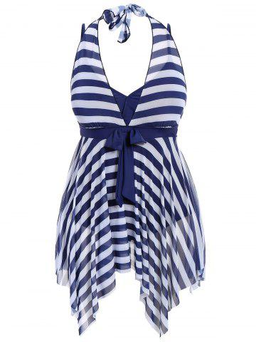 Hot Plus Size Stripe One Piece Skirted Swimsuit PURPLISH BLUE 2XL