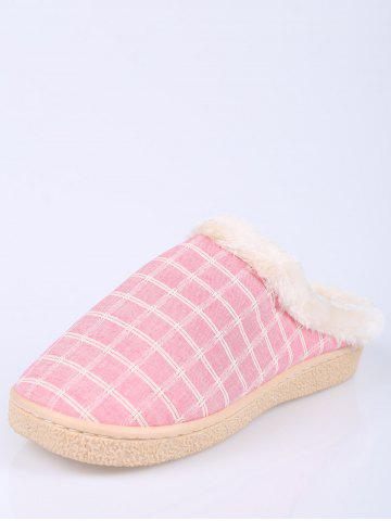 Sale Faux Fur Trim Checked Grid Plaid Indoor Slippers - SIZE(38-39) PINK Mobile