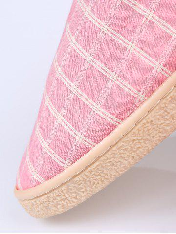 Chic Faux Fur Trim Checked Grid Plaid Indoor Slippers - SIZE(38-39) PINK Mobile