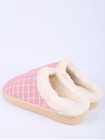 Best Faux Fur Trim Checked Grid Plaid Indoor Slippers - SIZE(38-39) PINK Mobile