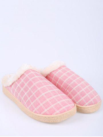 Hot Faux Fur Trim Checked Grid Plaid Indoor Slippers - SIZE(38-39) PINK Mobile