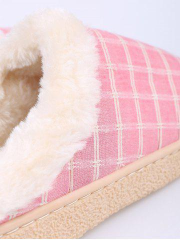 Store Faux Fur Trim Checked Grid Plaid Indoor Slippers - SIZE(38-39) PINK Mobile