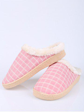 Sale Faux Fur Trim Checked Grid Plaid Indoor Slippers - SIZE(40-41) PINK Mobile