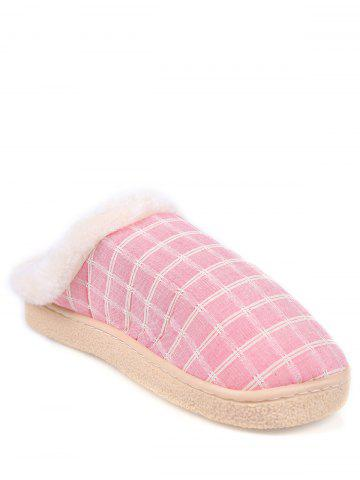 Faux Fur Trim Checked Grid Plaid Indoor Slippers - Pink - Size(40-41)