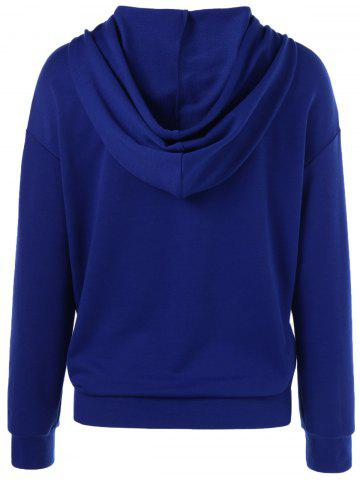 Latest Drawstring Funny Hoodie - XL BLUE Mobile