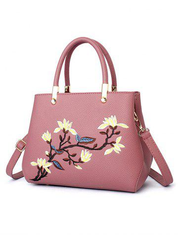 Outfits Metal Flower Embroidered Detail Handbag - PEONY PINK  Mobile