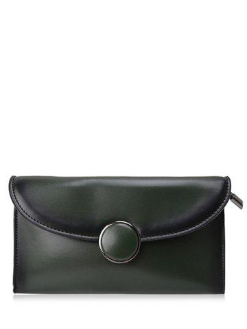 PU Leather Flapped Clutch Bag - GREEN