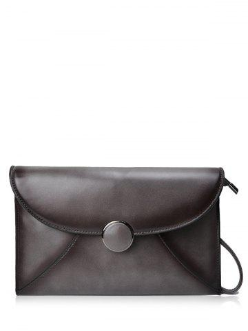 PU Leather Envelope Clutch Bag - GRAY