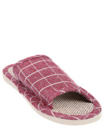 Sale Color Block Plaid Indoor Slippers - SIZE(37-38) CLARET Mobile