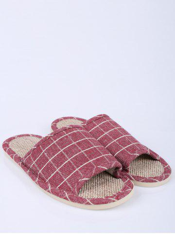Chic Color Block Plaid Indoor Slippers - SIZE(37-38) CLARET Mobile