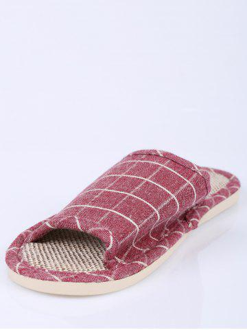Unique Color Block Plaid Indoor Slippers - SIZE(37-38) CLARET Mobile