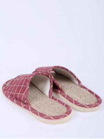 Trendy Color Block Plaid Indoor Slippers - SIZE(37-38) CLARET Mobile