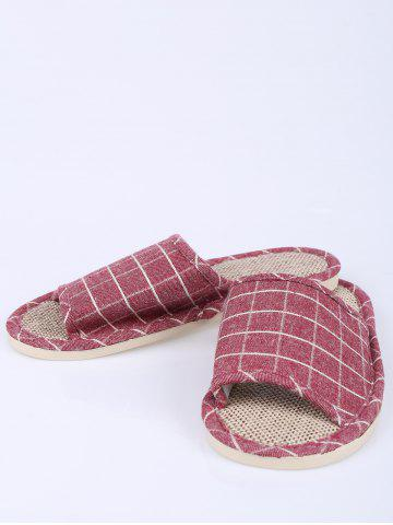 Shop Color Block Plaid Indoor Slippers - SIZE(37-38) CLARET Mobile
