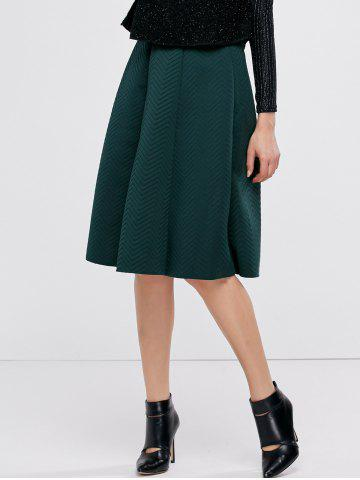 Outfit Midi High Waist A Line Skirt GREEN ONE SIZE