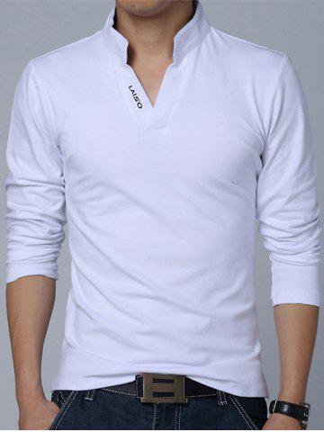 Stand Collar Long Sleeve Cotton Polo Shirt - White - M
