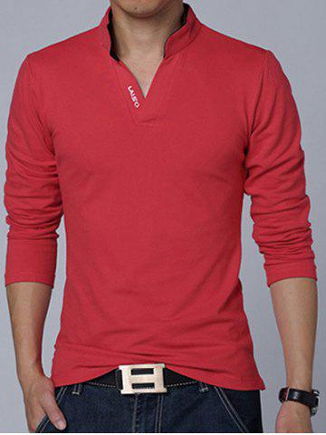 Stand Collar Long Sleeve Cotton Polo Shirt - Red - M