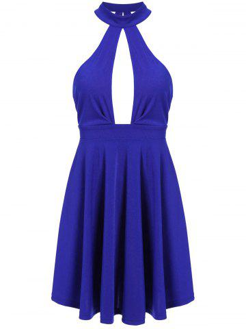 Outfit Low Back Keyhole Mini Cocktail Skater Dress BLUE S