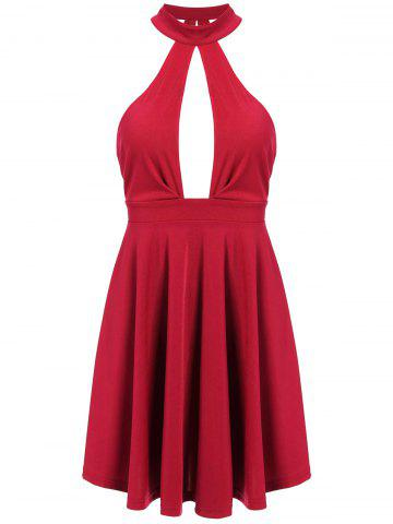 Unique Low Back Keyhole Mini Cocktail Skater Dress RED S