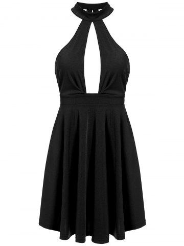Low Back Keyhole Mini Cocktail Skater Dress - Black - S