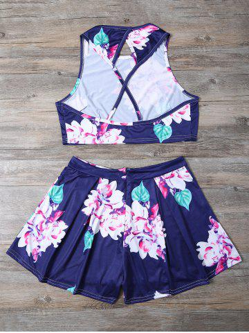 Best Floral Print Crop Top and High-Waisted Shorts Twinset - S BLUE Mobile