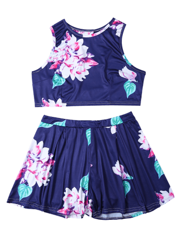 Cheap Floral Print Crop Top and High-Waisted Shorts Twinset - S BLUE Mobile