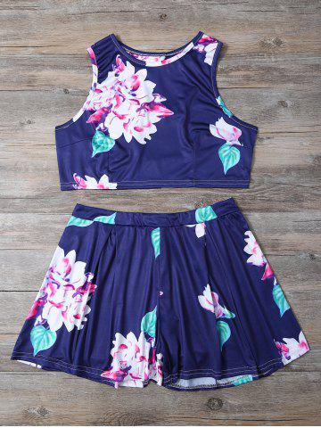Outfit Floral Print Crop Top and High-Waisted Shorts Twinset BLUE S